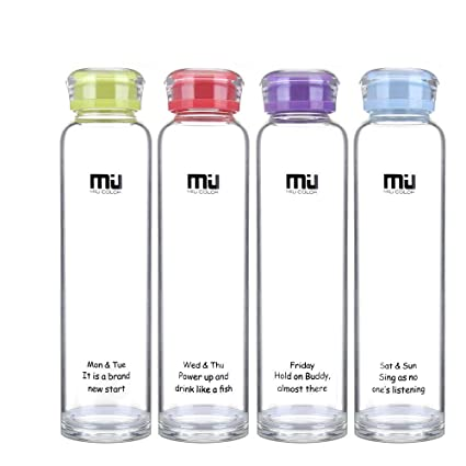 MIU COLOR Botellas de Agua de Cristal para Smoothies, jugos de ...