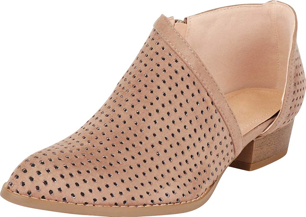 Taupe Imsu Cambridge Select Women's Pointed Toe Open Shank Side Cutout Perforated Shootie Ankle Bootie