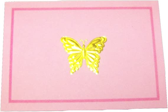 Thinking of You Card Pink Embossed Butterfly Design