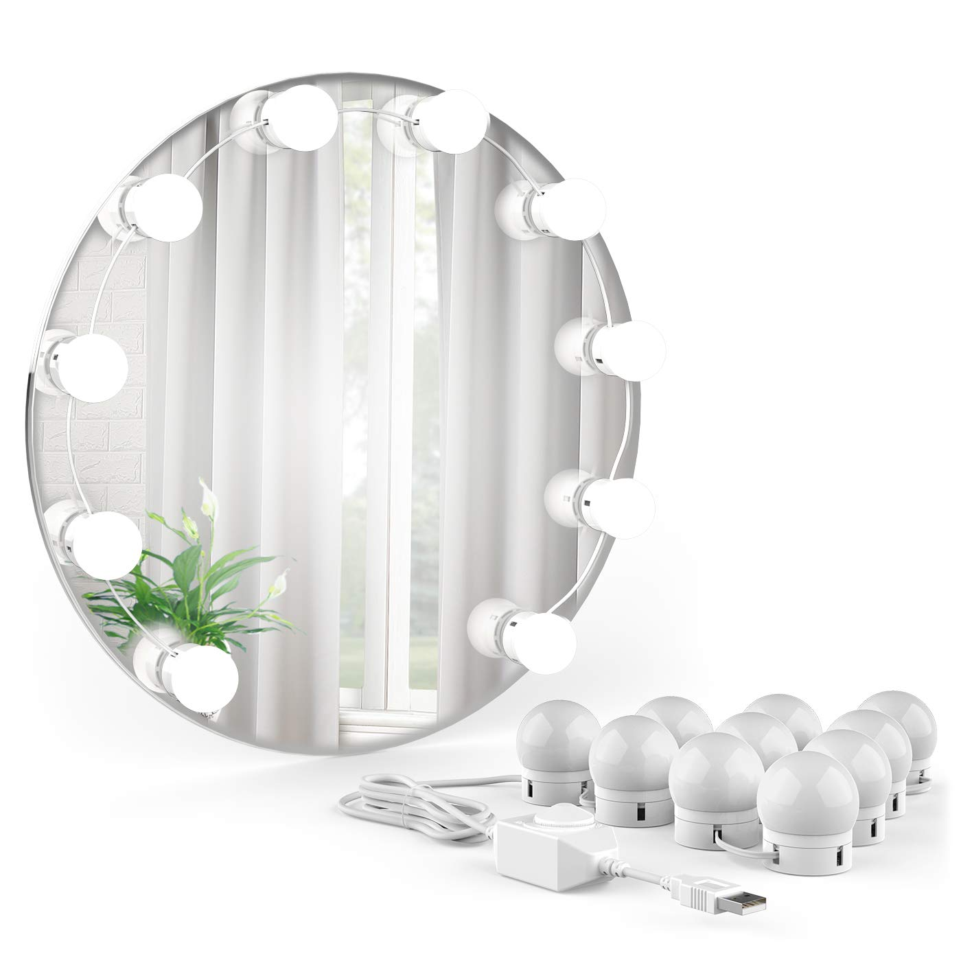 USB-betriebene 10 LED Schminkleuchte mit Saugnapf Onforu LED Spiegelleuchte Hollywood Stil Dimmbar Schminklicht Spiegellampe Make-up Lampe Geeignet f/ür Schminktisch Kosmetikspiegel Badezimmer