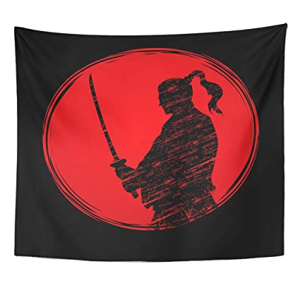 Emvency Tapestry Warrior Silhouette Samurai Ready to Fight Designed on Sunlight Graphic Ninja Japan Home Decor Wall Hanging for Living Room Bedroom ...