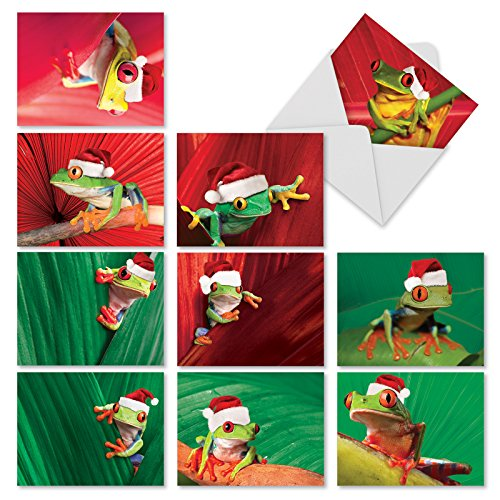 M1754XS Yule Frogs: 10 Assorted Christmas Folded Note Cards Feature Tiny Frogs in Santa Hats, w/White Envelopes.