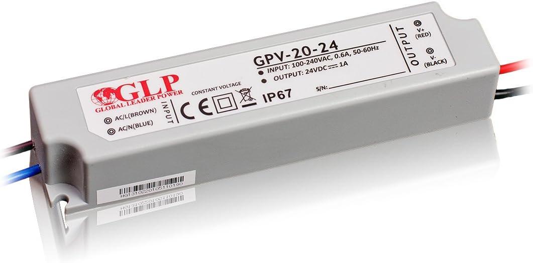 24W 24Vdc LED Power Supply, GPV-20-24, IP67, 5 years warranty, TÜV certificate