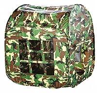 Biscount Pop-UpPlay Tent Indoor & Outdoor Playhouse Two Door Green Camouflage Canopy Pretend Army War Soldier