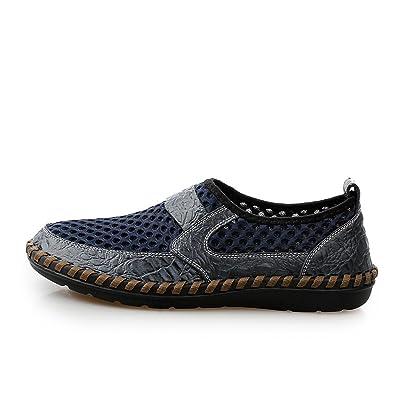 Été Chaussures De Maille Cuir Maille Plus Hommes Respirant Chaussures Occasionnelles Chaussures à La Main Durables