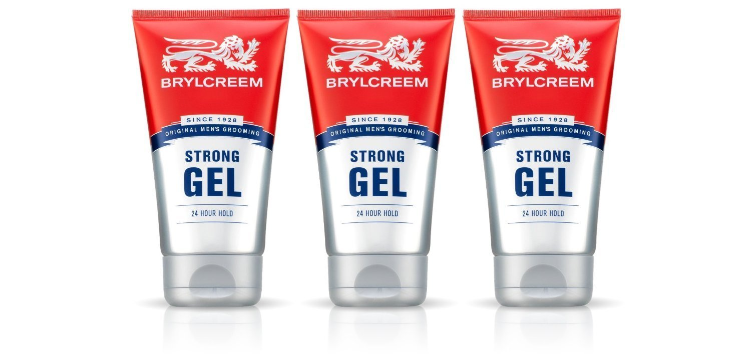 3 X BRYLCREEM STRONG 24 HOUR HOLD GEL 150ml - HAIR STYLING GEL LONG LASTING