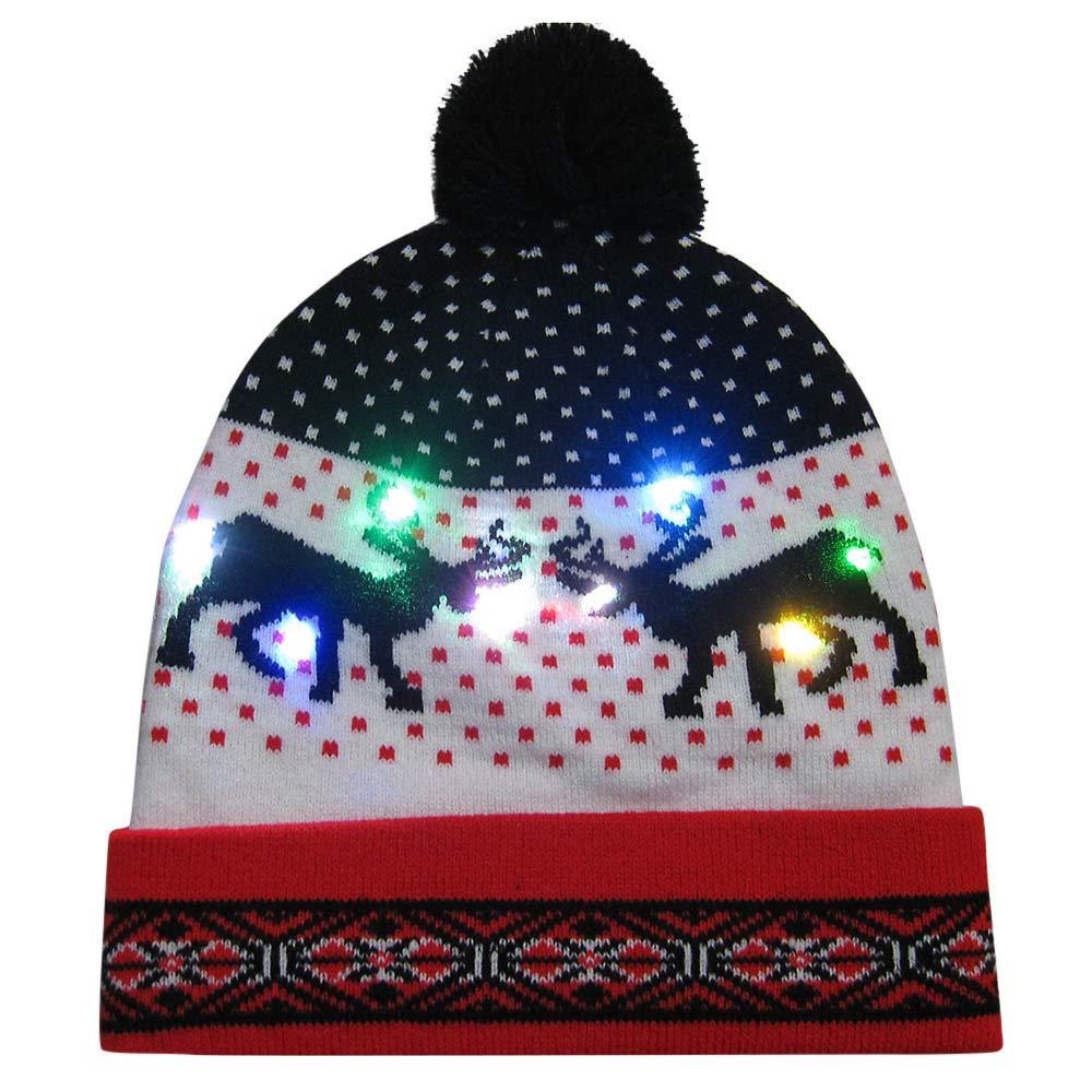 FeiliandaJJ Weihnachtsm/ütze mit LED-Licht,M/ütze Kinder M/ädchen Jungen Winterm/ütze Gestrickte H/äkeln Beanie Warmhalten Hut Weihnachten Geschenk