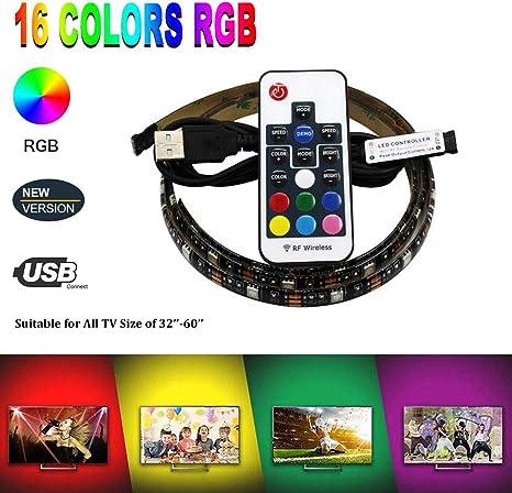 2x LED TV USB Backlight Kit RGB Light Strip For Computer TV Background Lights 1M