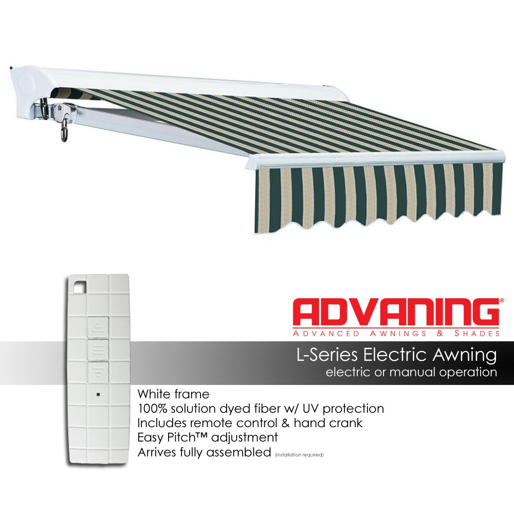 ADVANING Electric Luxury L Series, 12'x10', Semi-Cassette Top Quality Window/Door Cloth Cover Canopy Sun Shade Retractable Patio Awning, Garden Green with Sand Beige Stripes, Model: EA1210-A808H2 by ADVANING (Image #3)