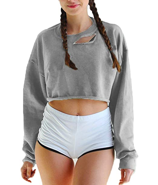 84e062a5ba8 Women s Round Collar Baggy Rock Style Sports Shirt Ripped Crop Top at  Amazon Women s Clothing store
