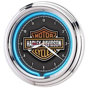 Harley-Davidson logo behind minute and hour hands