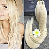"Full Shine 22"" Brazilian Remy Human Hair Extensions 100% Real Hair Tape in Extensions Color #613 Blonde 50g Per Package Solid Color Skin Weft"