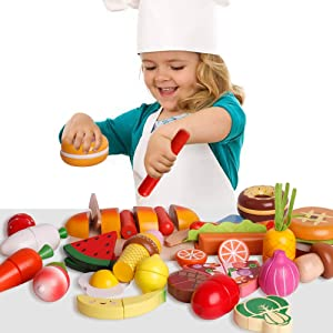 CHIYR Wooden Cutting Cooking Food Playset,Kitchen Play Food Toys for Pretend Role-Play, Early Development Learning Toys Gift for Toddlers
