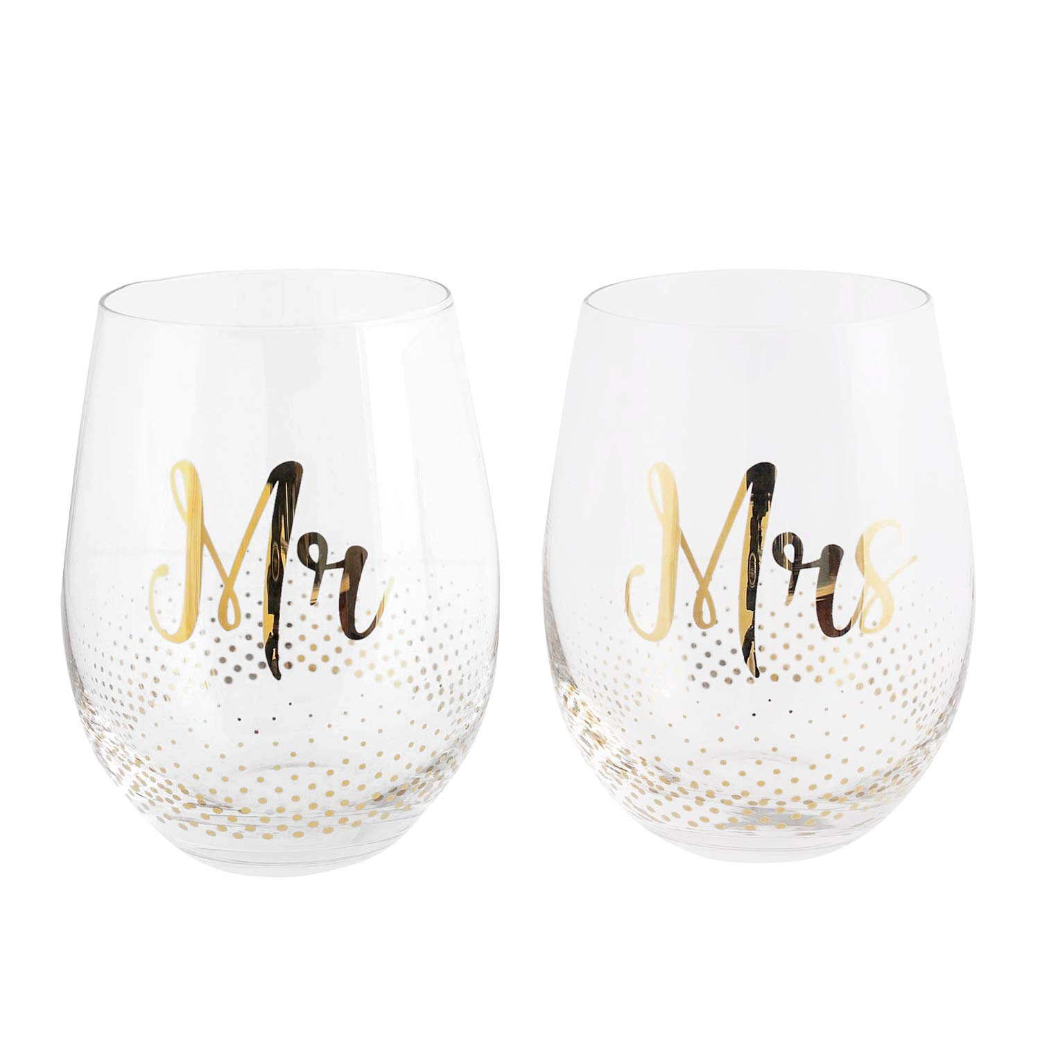 Mr & Mrs Gifts, set of 2 Crystal stemless wine glasses, with beautiful gift box, Perfect Engagement Gift, Wedding gift, Anniversary or Couples gift. by Verre Esprit (Image #10)