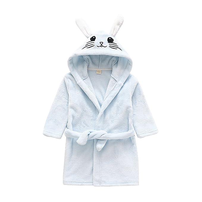 70dea2a646 Girls   Boys Bathrobes Kids Fleece Hooded Robe Toddlers Animal Pajamas  Sleepwear (Bunny Blue