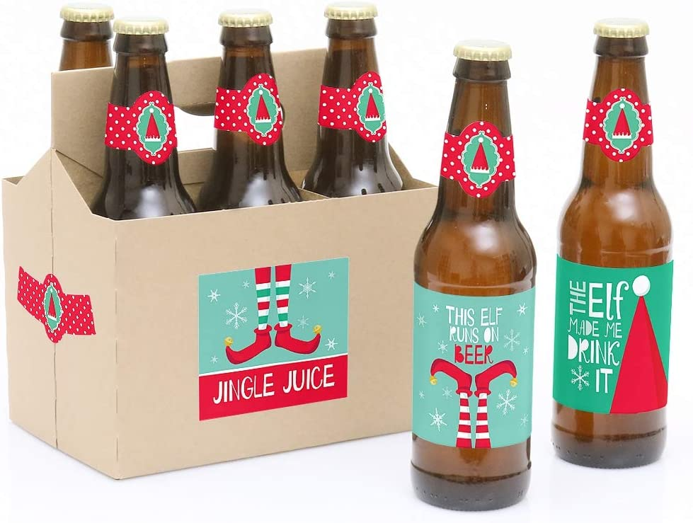 Elf Christmas Decorations for Women and Men Elf Squad 6 Beer Bottle Label Stickers and 1 Carrier