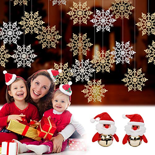 Newland Hanging Christmas Decorations, 26 PCS Snowflakes Ornaments, with 2 PCS Santa Bells ()
