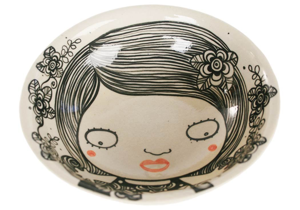19cm x 19cm x 6cm Shojo Medium Monochrome Handmade Ceramic Cereal Bowl