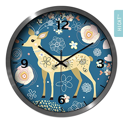 BYLE Non Ticking Battery Operated Decorative Creative Fashion Cute Camouflage Small Deer Bedroom Living Room Electronic Quartz Clock Home Decor Wall Clock, 14 Inch,Cg033 Black-Silver Wire -