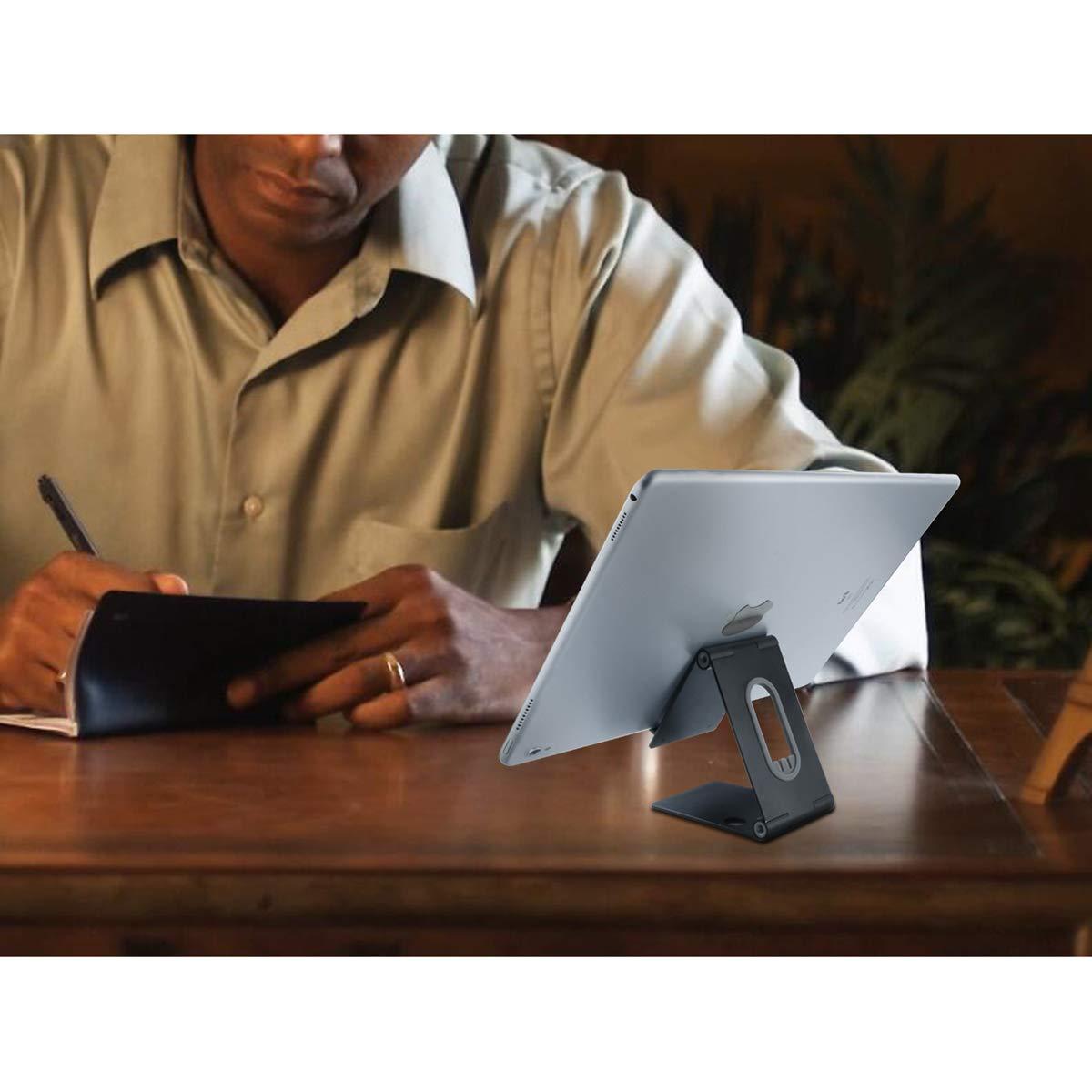 AUTFIT Foldable Desk Phone Stands, Tabletständer Einstellbar, Handy Halter, Ebook Reader Ständer, Switch Ständer, Universal Tischständer Halterung Tablet Stand für Smartphone, iPad, Kindle (Schwarz)