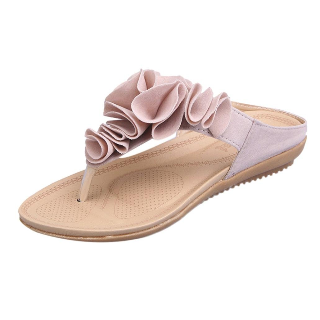 LUCKYCAT Prime Day Amazon, Sandales d'été Femme Chaussures de Été Sandales à Talons Chaussures Plates Pantoufles de Plage Casual Chaussures Plates Dame Fleurs en Trois Dimensions 2018