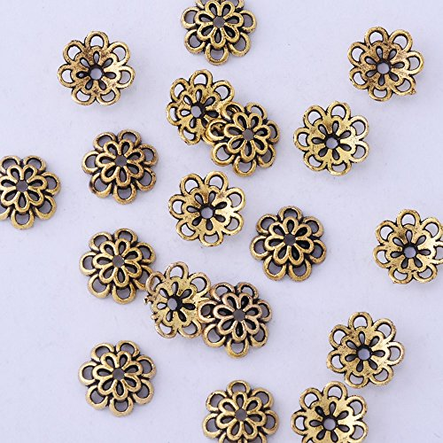 lots of 50pcs 10mm hollow out flower vintage beads cap,filigree beads cap,end cap,flower spacer metal beads,Antique (Filigree Bead End Cap)