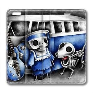 Enjoy happy life iphone 6 plus leather Case,iphone 6 plus Cases ,Car skull Custom iphone 6 plus(5.5)High-grade leather Cases