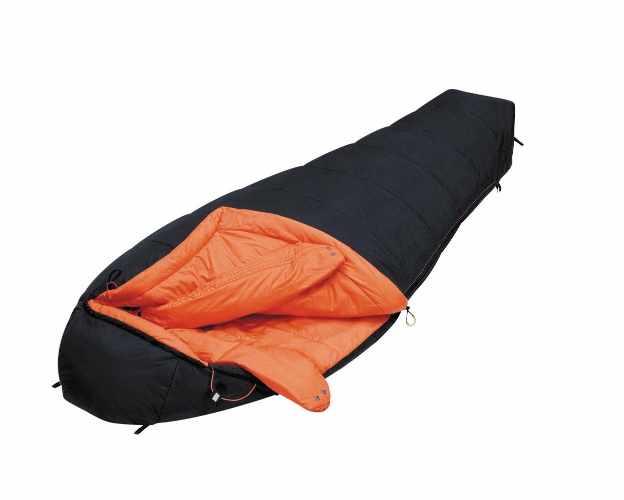ALEXIKA Schlafsack Delta Compact, rechte Reißverschluss, schwarz / orange, 85(Breite oben)x200(Länge) x55(Breite unten), 8205.1014R
