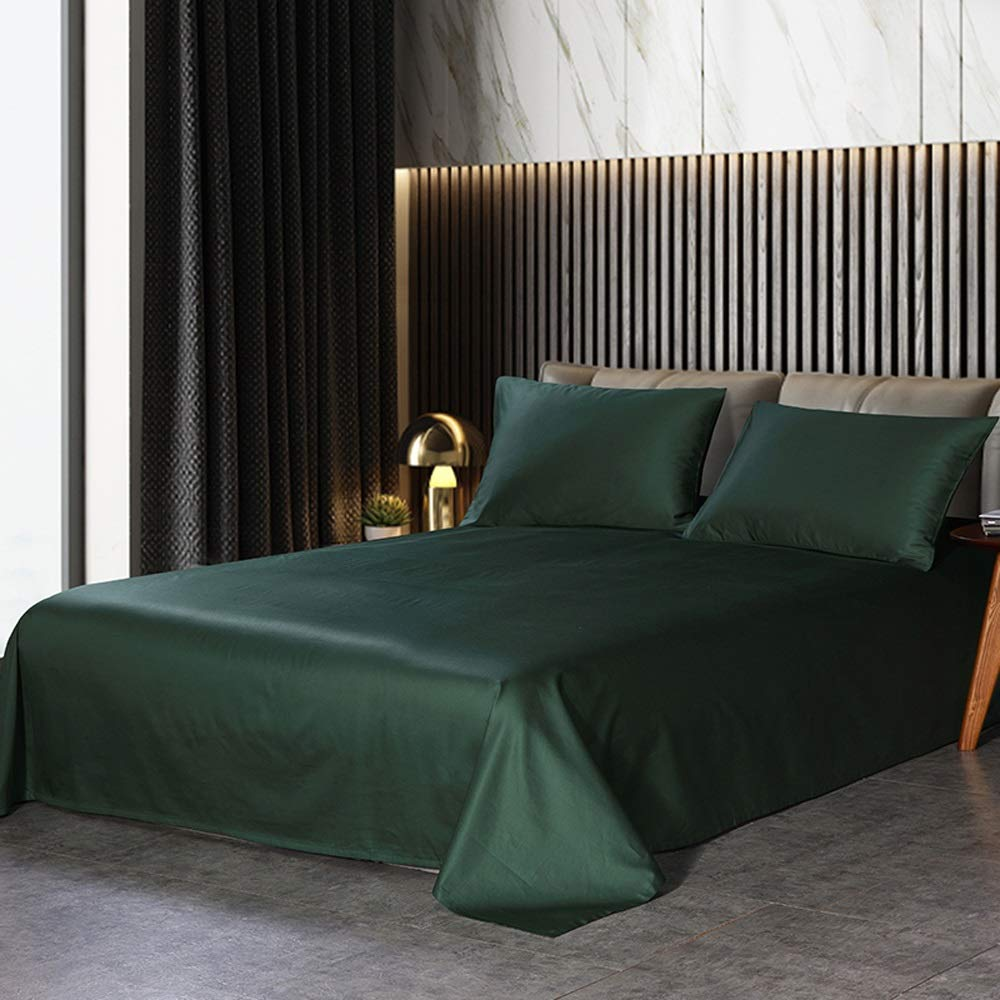 ARESS-Fitted sheets Full Satin Silk Ice Set - Soft and Silky 3-Piece Linen Set - Bedding Set for All Seasons (Color : Dark Green, Size : 160X250cm)