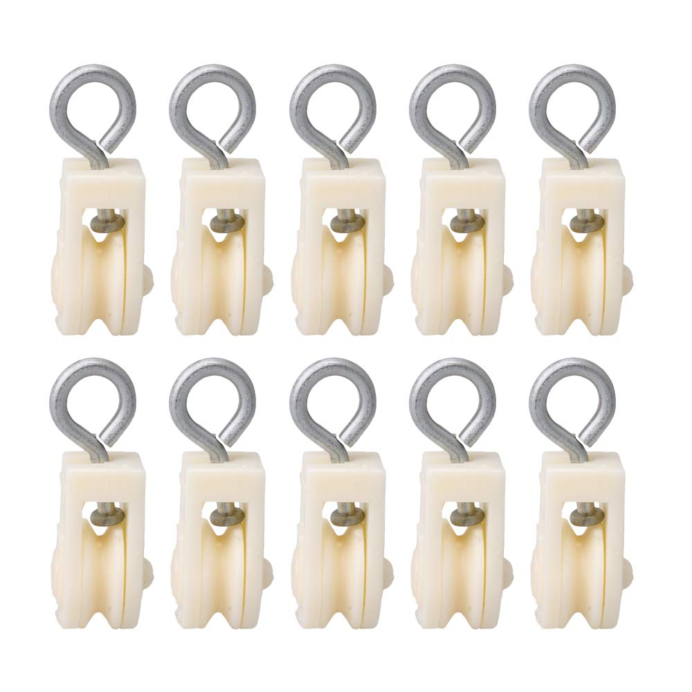 BQLZR White Lightweight Plastic 8mm Single Sheave Lift Pulley for Chicken Poultry Farms Pack of 10 N02349