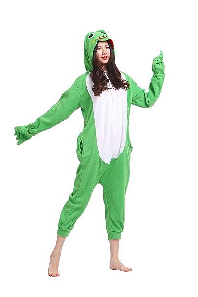 Hstyle Adulto Unisex Mamelucos Pijama De Halloween Cosplay Disfraces Trajes Rana Verde Grande
