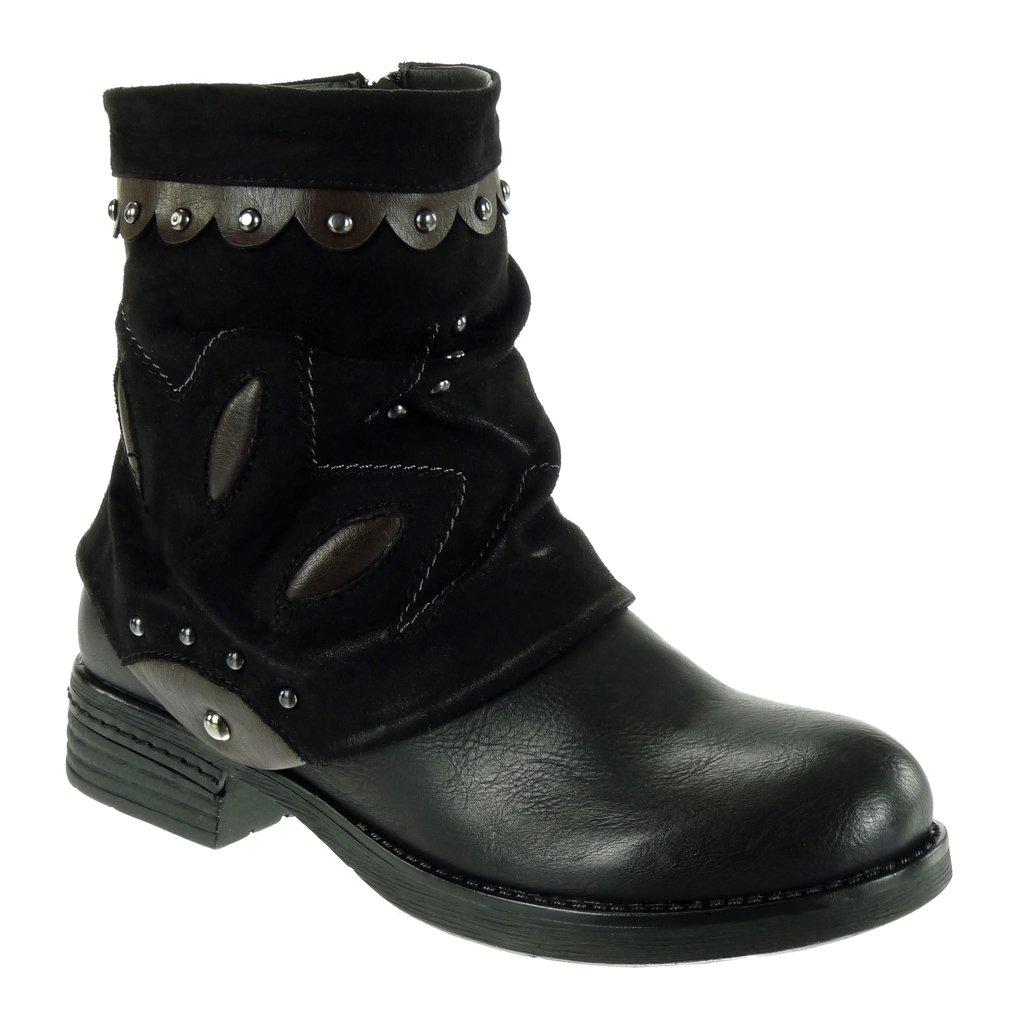 Angkorly - B07HRCFPL1 Chaussure Mode Bottine CM Motard Cavalier bi-matière Femme Noir clouté Finition surpiqûres Coutures Fantaisie Talon Bloc 3 CM Noir 51b98c1 - deadsea.space