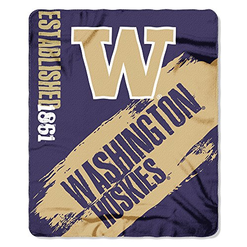 Amirshay, Inc. Washington Huskies NCAA Light Weight Fleece Blanket (Painted Series) (50inx60in) (Washington Huskies Fleece Throw)