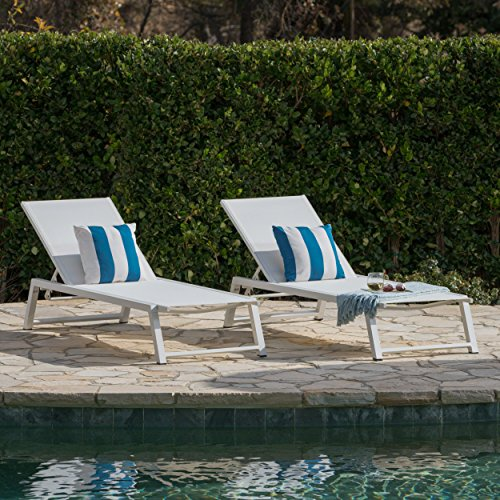 Mesa Outdoor White Mesh Chaise Lounge with White Finished Aluminum Frame (Set of 2) (White Chairs Pool)