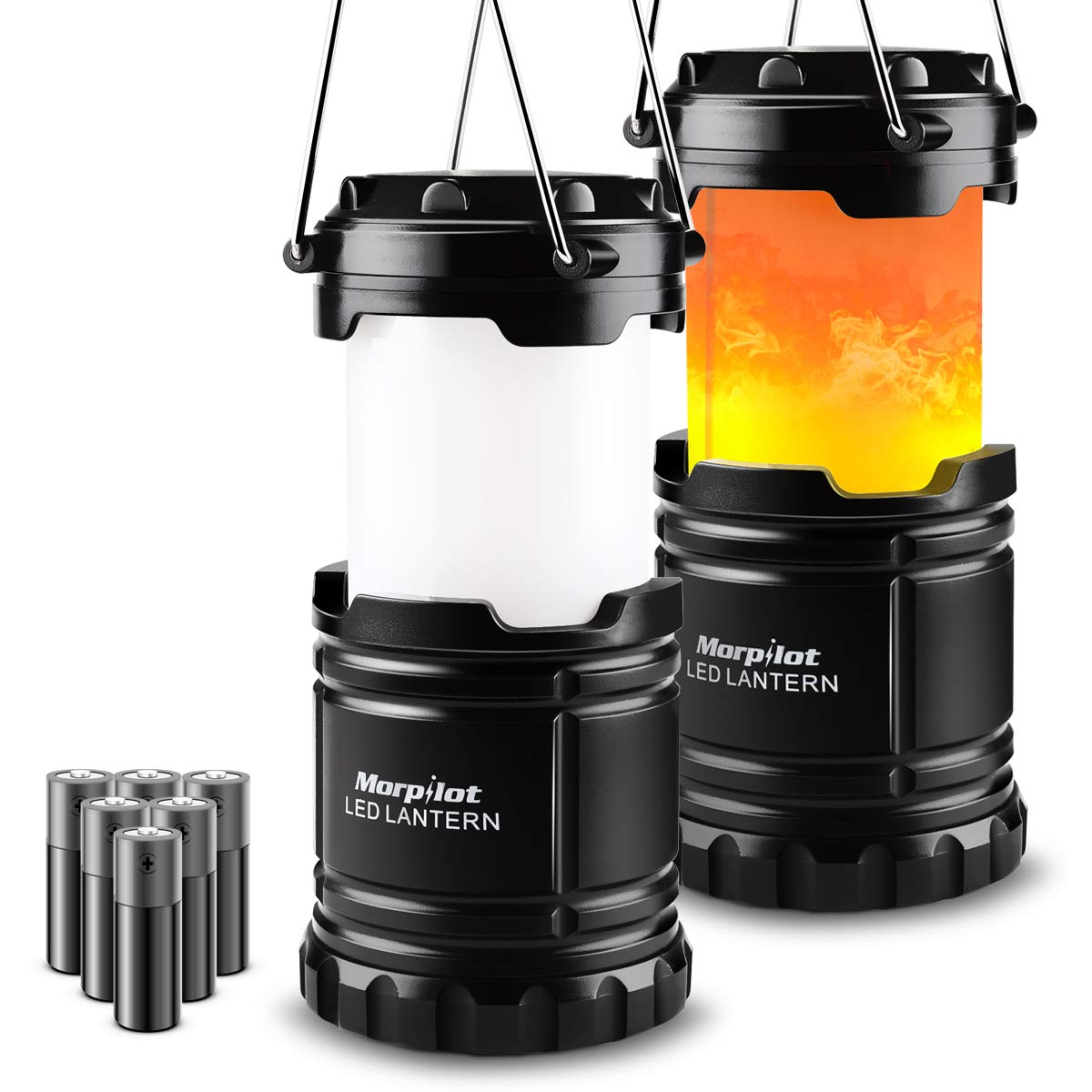 2 Pack Camping Lantern with 2 in 1 Lighting Modes(White Light or Flame Light) 6 AA Batteries Included, Portable Ultra-Bright LED Lantern Flashlight for Emergency, Hurricane, Outage, Camping, Hiking