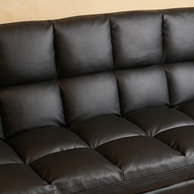 Amazon.com: Leather Euro Style Sofa Bed Lounger Couch  Convertible Futon    Contemporary/Modern Furniture For Your Living Room   On Sale: Kitchen U0026  Dining