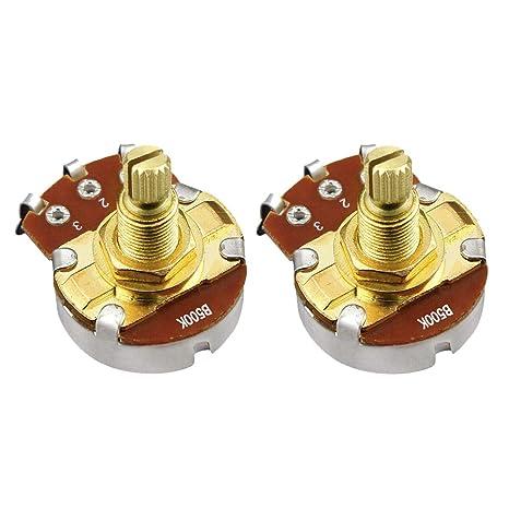IKN 2pcs color dorado B500K tonos potenciómetros de tamaño completo Eje L18mm para Guitarra Bajo