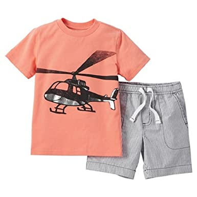 32397c84e8be Carter s Just One You Baby Boys  2 Piece Helicopter Short Set -Orange Gray