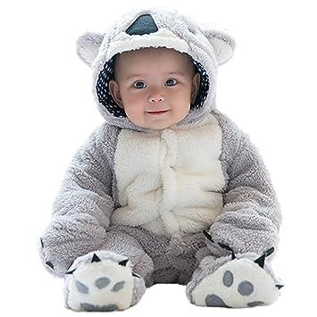 eff081b675b15 mrcos ふわふわ ベビー服 カバーオール 赤ちゃん 可愛い動物 コアラ 着ぐるみ 足つき 暖かい コート 秋冬 防寒・保温
