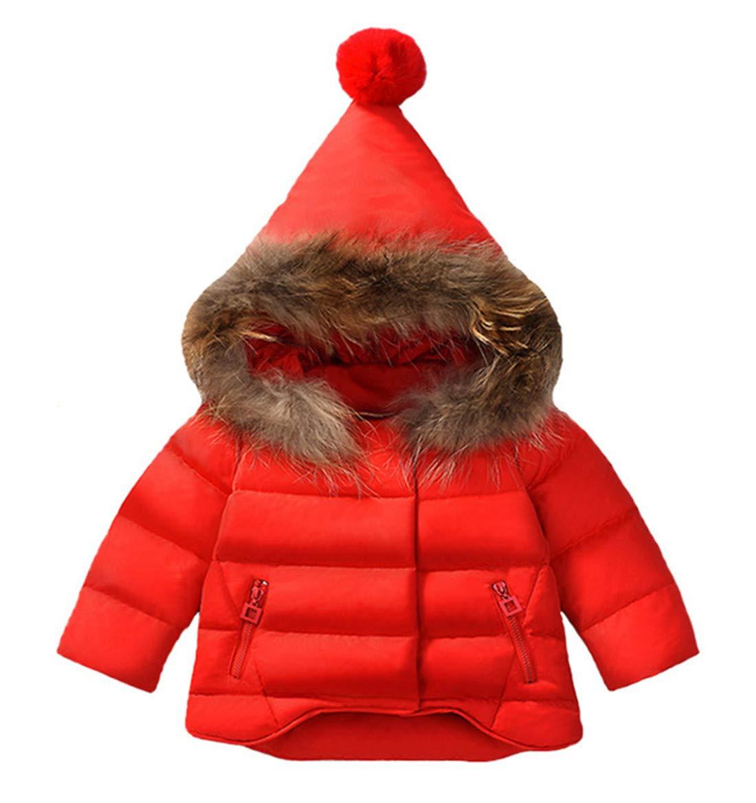 Baby Girls Thicken Coat Thermal Hooded Winter Snowsuit Waterproof Lightweight Warm Cotton Jacket Red 90 by Xuvozta