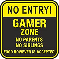 NO ENTRY GAMER ZONE NO PARENTS, NO SIBLINGS, FOOD HOWEVER IS ACCEPTED - Vinyl Printed Sticker For Walls/Doors