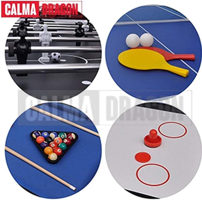 Calma Dragon Mesa Multijuegos Plegable 4 en 1 Billar, Ping Pong, Hockey y Futbolín Regalo Ideal para Toda la Familia: Amazon.es: Juguetes y juegos