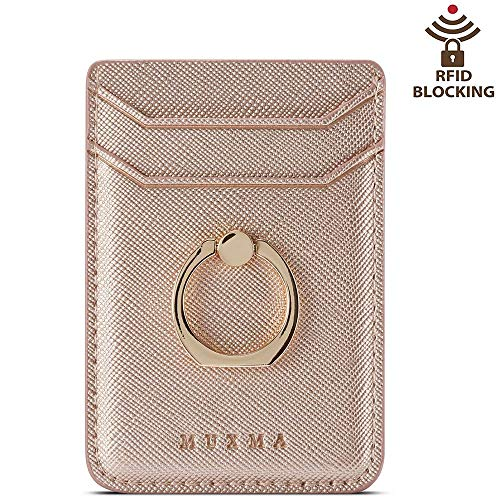 ACRSIKR Card Holder for Back of Phone, RFID Blocking Cell Phone Credit Wallet with Ring Pocket Stick on iPhone