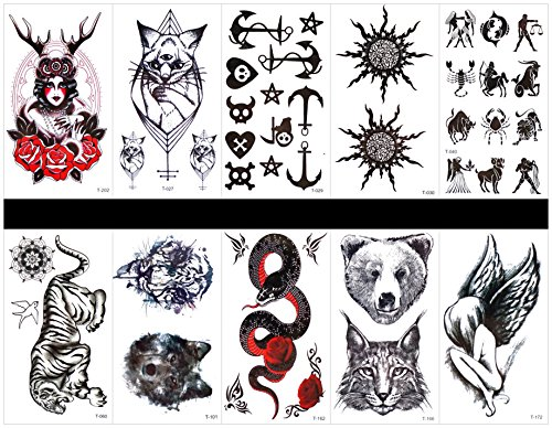 GGSELL GGSELL 10pcs tattoo animal snake temporary tattoos in one packages,including women,roses,cat,totem,sun,animal totem,tiger,wolf head,tiger head,snake,angel,etc. -