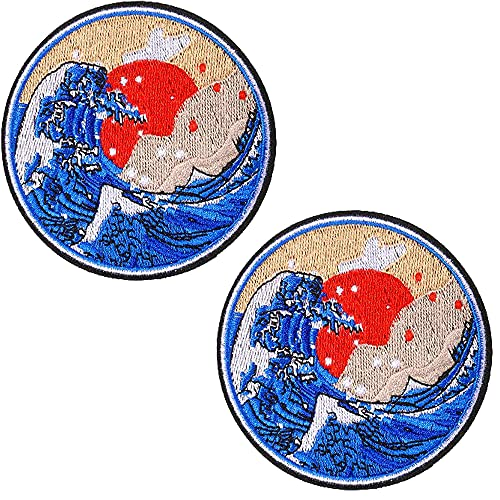 AXEN Great Wave off Kanagawa Patches Embroidered Iron-on Badge Patches, Iron On Sew On Emblem Patches DIY Accessories, Pack of 2