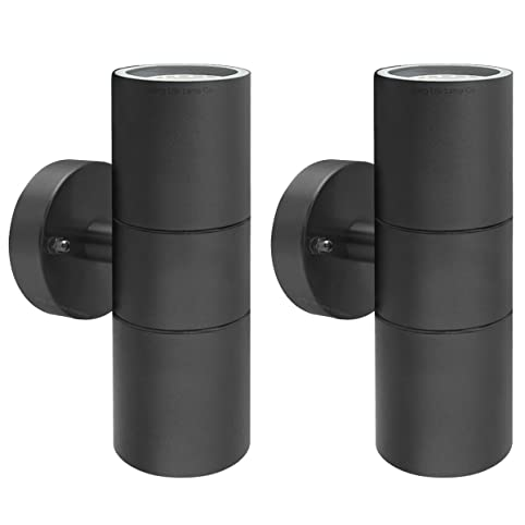 2 X Black Stainless Steel Double Outdoor Wall Light IP65 Up Down Garden  Wall Lamp ZLC035B
