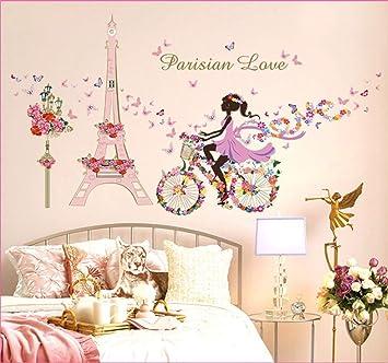 QTXINGMU Tour Eiffel Fleurs Mural Décoration Murale Chambre ...