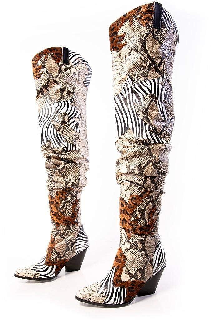 Cape Robbin Hilda Over The Knee Thigh HIGH Chunky Low Heel Boots-Animal