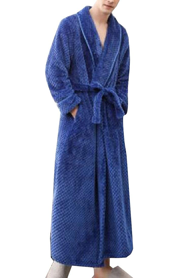 WSPLYSPJY Men Comfy Belted Thicken Flannel Bathrobe Pajamas Homewear Sleepwear