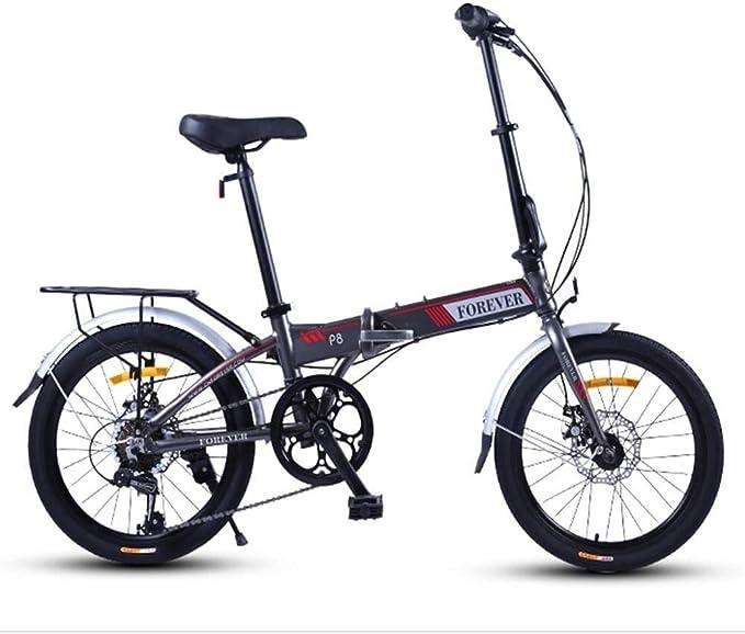 YLJYJ Bicicleta Plegable, Bicicleta Plegable de Peso Ligero para Mujeres Adultas, Mini Bicicletas de 20 Pulgadas y 7 velocidades, Bicicleta Reforzada de Viaje con Marco Reforzado: Amazon.es: Deportes y aire libre
